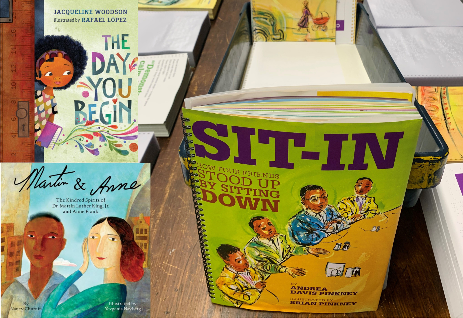 Cover images of The Day You Begin, Sit In and Martin and Anne. Sit In is part of a print/braille collating table set up, with pages reading to put together.