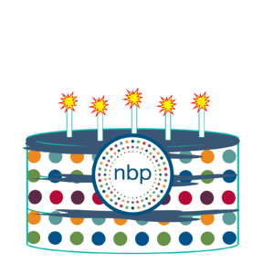 Dotted Birthday Cake with NBP logo and burning candles