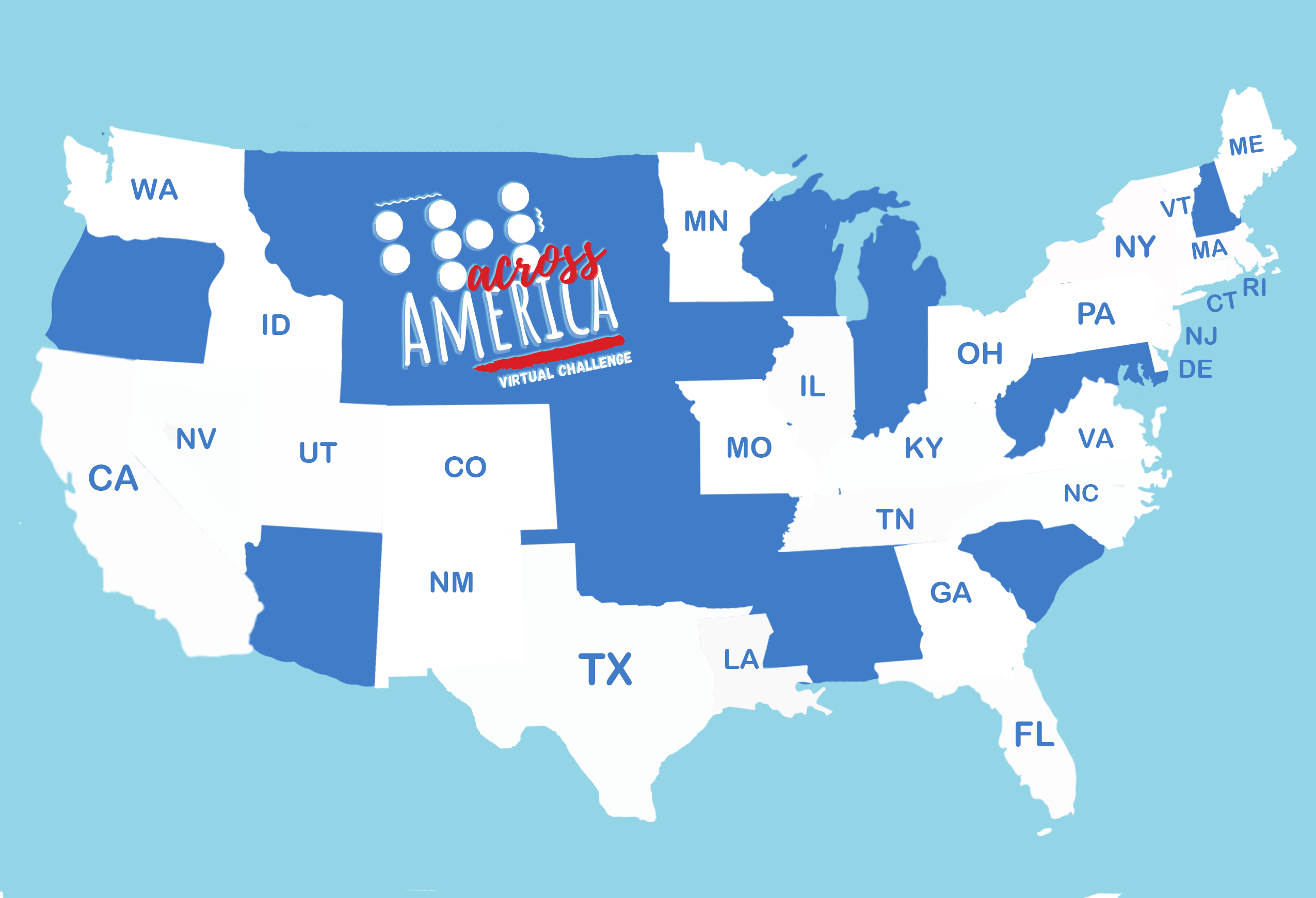Blue on Blue Braille Across America Logo Map with Participating States highlighted in white.