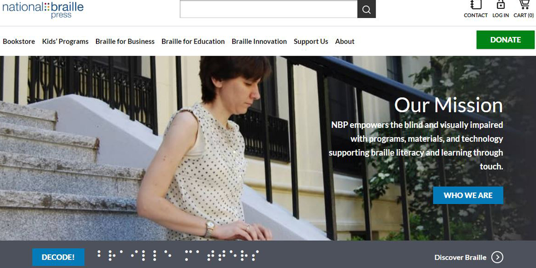 NBP.org homepage screenshot featuring a women reading braille on our front steps.